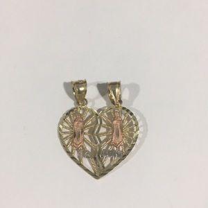 Jewelry - 14k Tri Color Gold Te Amo Heart ❤️ Shape Pendant